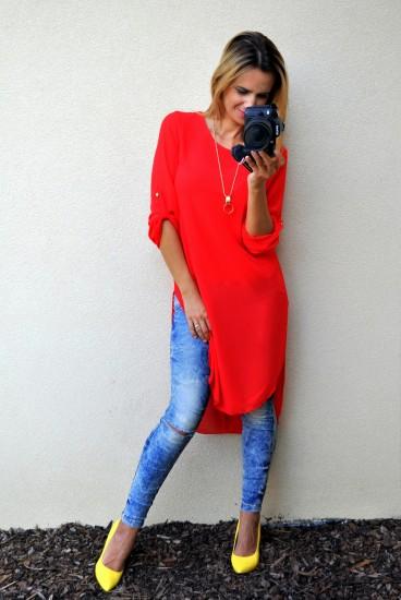a1bf73b5c287 Asymetrická tunika červená » Mánnia